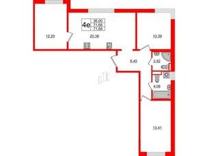 Квартира в ЖК ЦДС Parkolovo, 3 комнатная, 71.96 м², 2 этаж