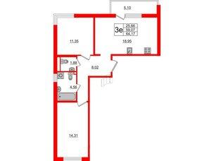 Квартира в ЖК ЦДС Parkolovo, 2 комнатная, 59.35 м², 3 этаж