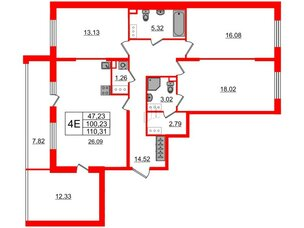 Квартира в ЖК «Солнечный город», 3 комнатная, 100.23 м², 4 этаж