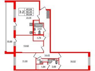 Квартира в ЖК «Солнечный город», 3 комнатная, 90.2 м², 2 этаж