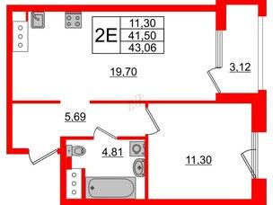 Квартира в ЖК Принцип, 1 комнатная, 44.62 м², 4 этаж