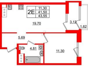Квартира в ЖК Принцип, 1 комнатная, 46.24 м², 7 этаж