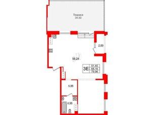 Квартира в ЖК Принцип, 2 комнатная, 71.05 м², 8 этаж