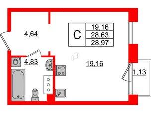 Квартира в ЖК Принцип, студия, 29.76 м², 3 этаж