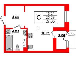 Квартира в ЖК Принцип, студия, 28.87 м², 7 этаж