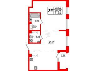 Квартира в ЖК Принцип, 2 комнатная, 63.18 м², 8 этаж
