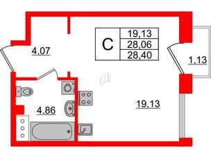 Квартира в ЖК Принцип, студия, 29.19 м², 5 этаж