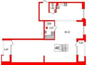Квартира в ЖК Принцип, 3 комнатная, 100.55 м², 8 этаж