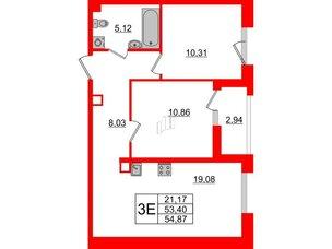 Квартира в ЖК Принцип, 2 комнатная, 56.34 м², 2 этаж