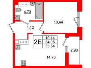Квартира в ЖК Принцип, 1 комнатная, 37.03 м², 3 этаж