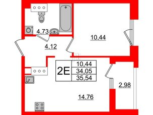 Квартира в ЖК Принцип, 1 комнатная, 37.03 м², 4 этаж