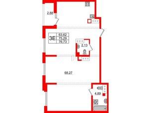 Квартира в ЖК Принцип, 1 комнатная, 78.17 м², 8 этаж