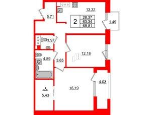 Квартира в ЖК Принцип, 2 комнатная, 68.86 м², 7 этаж