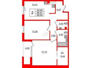 Квартира в ЖК Принцип, 2 комнатная, 71 м², 3 этаж