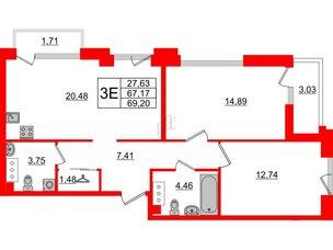 Квартира в ЖК Принцип, 2 комнатная, 71.91 м², 7 этаж