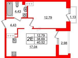 Квартира в ЖК Принцип, 1 комнатная, 42.8 м², 5 этаж