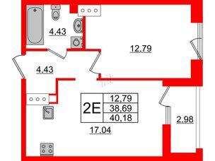 Квартира в ЖК Принцип, 1 комнатная, 41.67 м², 6 этаж
