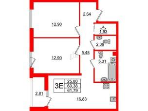 Квартира в ЖК Принцип, 2 комнатная, 63.19 м², 2 этаж