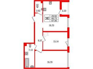 Квартира в ЖК Принцип, 2 комнатная, 69.06 м², 2 этаж