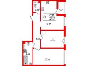 Квартира в ЖК Принцип, 2 комнатная, 69.15 м², 4 этаж