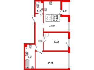 Квартира в ЖК Принцип, 2 комнатная, 69.15 м², 6 этаж