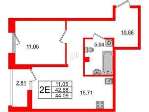 Квартира в ЖК Принцип, 1 комнатная, 45.49 м², 2 этаж