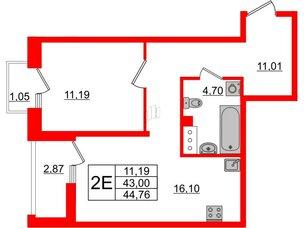 Квартира в ЖК Принцип, 1 комнатная, 46.92 м², 5 этаж