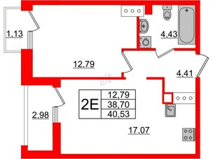 Квартира в ЖК Принцип, 1 комнатная, 42.81 м², 7 этаж