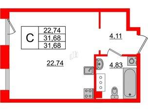 Квартира в ЖК Принцип, студия, 31.68 м², 4 этаж