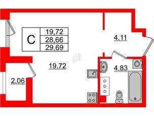 Квартира в ЖК Принцип, студия, 30.72 м², 6 этаж