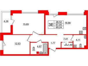 Квартира в ЖК Принцип, 2 комнатная, 71.43 м², 2 этаж