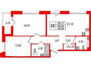 Квартира в ЖК Принцип, 2 комнатная, 71.52 м², 6 этаж