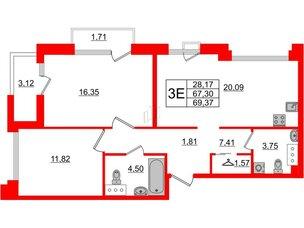 Квартира в ЖК Принцип, 2 комнатная, 72.13 м², 7 этаж