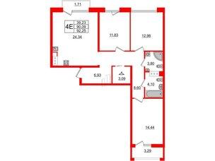 Квартира в ЖК Принцип, 3 комнатная, 95.09 м², 3 этаж