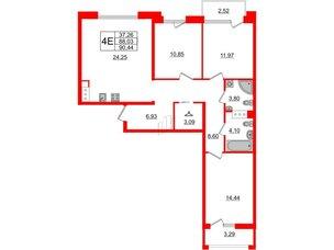 Квартира в ЖК Принцип, 3 комнатная, 93.84 м², 5 этаж