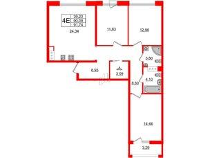 Квартира в ЖК Принцип, 3 комнатная, 93.38 м², 6 этаж