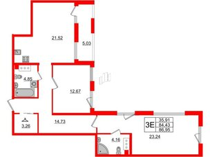 Квартира в ЖК Принцип, 2 комнатная, 89.46 м², 5 этаж