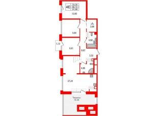 Квартира в ЖК Принцип, 3 комнатная, 87.23 м², 7 этаж