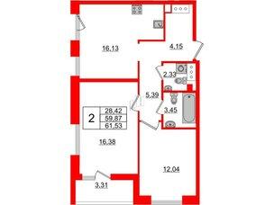 Квартира в ЖК Принцип, 2 комнатная, 63.18 м², 3 этаж