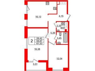 Квартира в ЖК Принцип, 2 комнатная, 63.18 м², 6 этаж