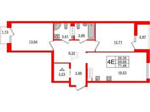 Квартира в ЖК Принцип, 2 комнатная, 73.68 м², 7 этаж