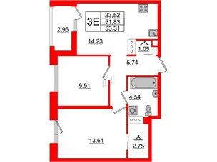 Квартира в ЖК Принцип, 2 комнатная, 54.79 м², 6 этаж