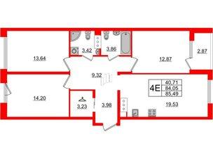 Квартира в ЖК Принцип, 3 комнатная, 86.92 м², 4 этаж