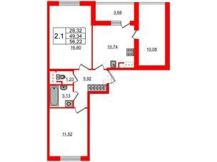Квартира в ЖК «Солнечный город», 2 комнатная, 49.34 м², 2 этаж