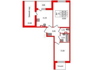 Квартира в ЖК «Солнечный город», 2 комнатная, 50.29 м², 1 этаж