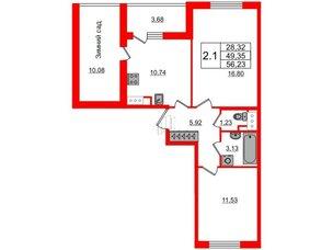 Квартира в ЖК «Солнечный город», 2 комнатная, 49.35 м², 2 этаж