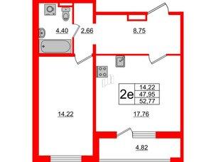 Квартира в ЖК ЦДС Parkolovo, 1 комнатная, 47.95 м², 1 этаж