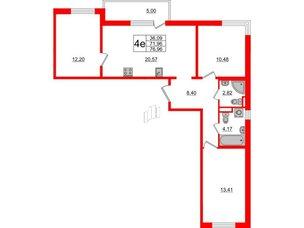 Квартира в ЖК ЦДС Parkolovo, 3 комнатная, 71.96 м², 3 этаж