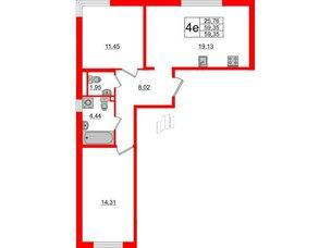 Квартира в ЖК ЦДС Parkolovo, 2 комнатная, 59.35 м², 2 этаж