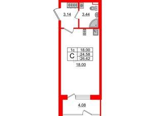 Квартира в ЖК Зеленый квартал на Пулковских высотах, студия, 24.58 м², 1 этаж